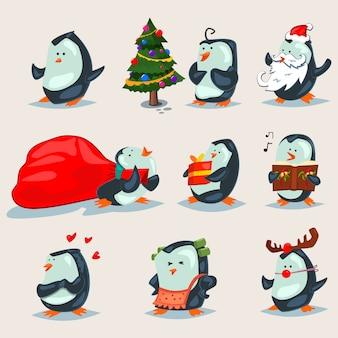 Kerst schattige pinguïns stripfiguren set geïsoleerd op een wit.