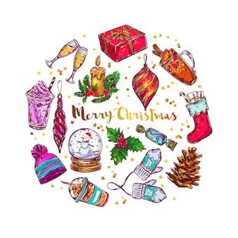 Kerst schets belettering cirkel samenstelling