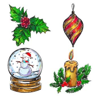 Kerst schets pictogramserie
