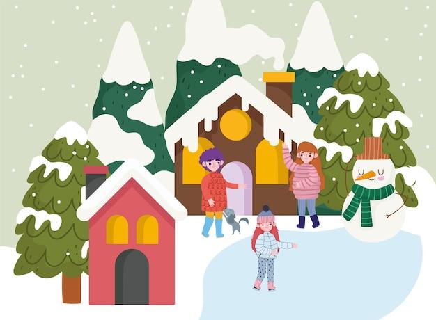 Kerst seizoen mensen sneeuwpop dorp huizen bomen sneeuw cartoon, wintertijd
