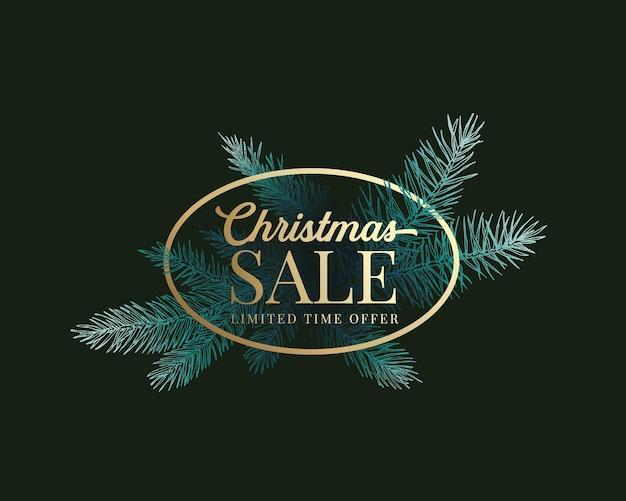 Kerst seizoen verkoop vector label, teken of kaartsjabloon. handgetekende vuren takken vervagen in het donker met gouden ovale ingelijste typografie. vakantiepromo of reclamebannerachtergrond