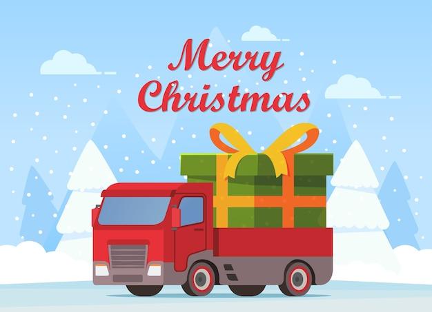 Kerst semi vrachtwagen met groene geschenkdoos gebonden gouden lint boog