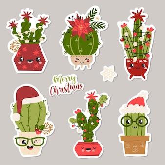 Kerst set stickers met cactussen.