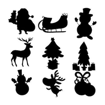 Kerst silhouet set