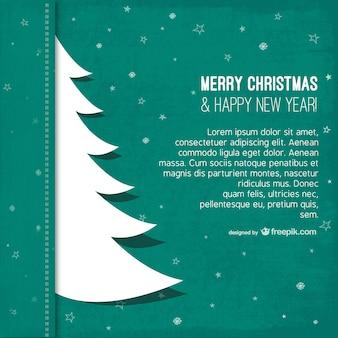 Kerst sjabloon met boom silhouet