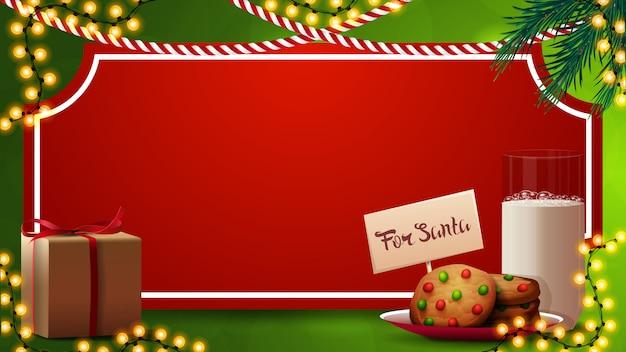 Kerst sjabloon met rood vel papier in de vorm van vintage ticket