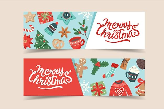 Kerst sjabloon voor spandoek met belettering en leuke seizoensgebonden elementen
