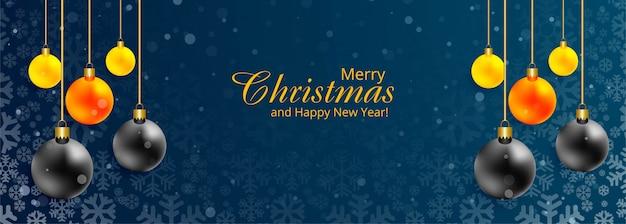 Kerst sjabloon voor spandoek met ornamenten