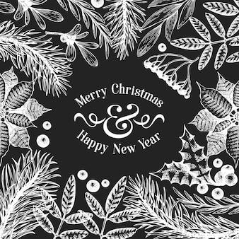 Kerst sjabloon voor spandoek. vector hand getrokken illustraties op schoolbord.