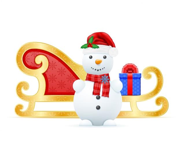 Kerst slee kerstman vectorillustratie