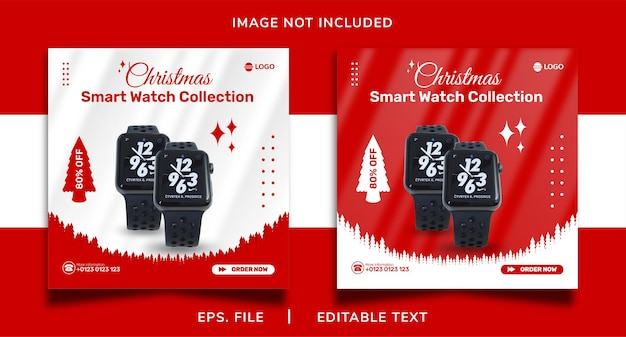 Kerst slimme horloge verkoop sociale media promotie en instagram banner post sjabloonontwerp