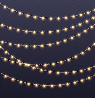 Kerst slinger. gloeiende gele gloeilampen met fonkelingen. kerstmis, nieuwjaar, bruiloft of verjaardag decor. feestevenement decoratie. wintervakantie seizoen element.