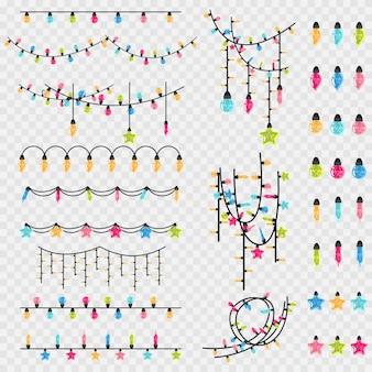 Kerst slinger string en glas vintage gloeilamp van verschillende kleuren. vector cartoon xmas decoratie element set geïsoleerd