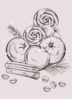Kerst snacks samenstelling met decoraties