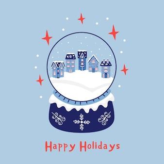 Kerst sneeuw huizen in een kristallen bol. nieuwjaar wenskaart vrolijk kerstfeest. vectorillustratie in blauwe tinten