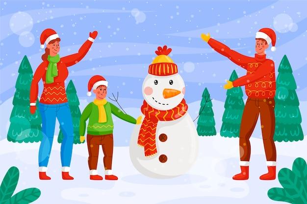 Kerst sneeuw scène illustratie