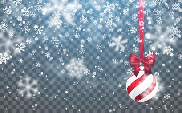 Kerst sneeuw. vallende sneeuwvlokken op donkere achtergrond