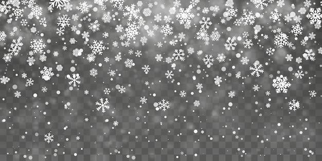 Kerst sneeuw. vallende sneeuwvlokken op transparante achtergrond. sneeuwval. vector illustratie.