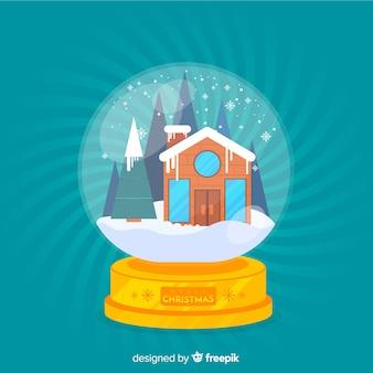 Kerst sneeuwbal globe concept in vlakke stijl