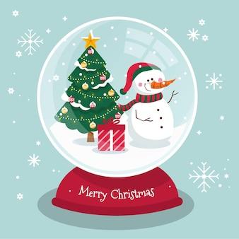Kerst sneeuwbal globe in plat design