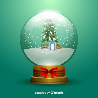 Kerst sneeuwbal wereldbol met geschenken