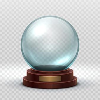 Kerst sneeuwbol. kristalglas lege bal.