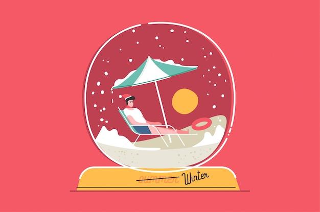 Kerst sneeuwbol wenskaart