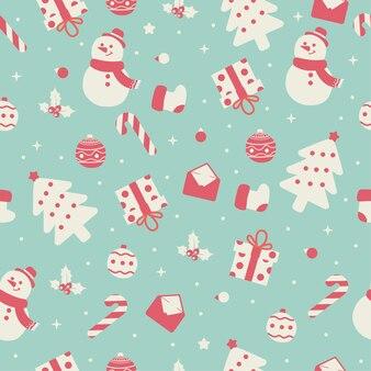 Kerst sneeuwpop naadloze patroon