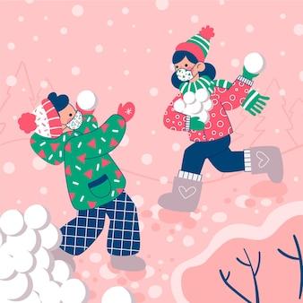 Kerst sneeuwscène - maskers dragen