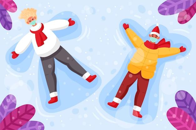Kerst sneeuwscène met maskers