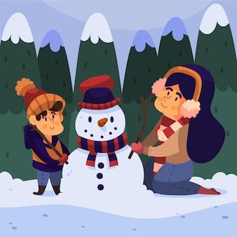 Kerst sneeuwscène