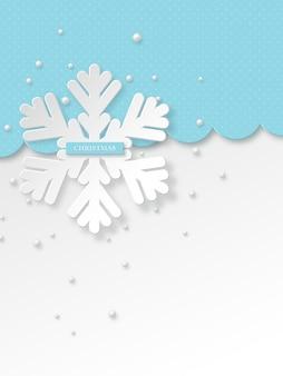 Kerst sneeuwvlokken met parels. blauwe gestippelde vakantieachtergrond met begroetingstekst. vector illustratie.