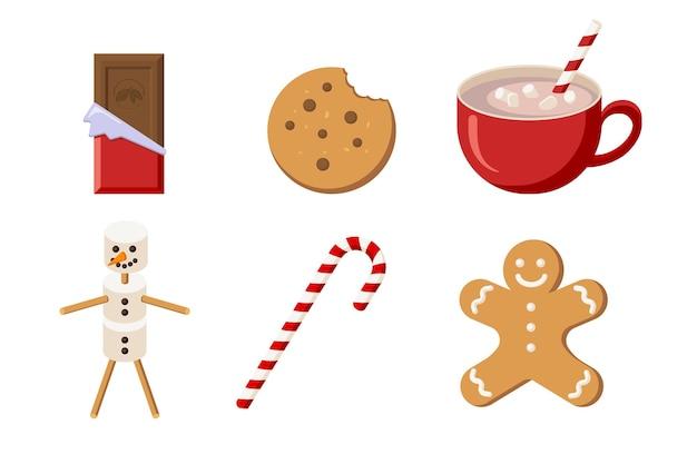 Kerst snoep collectie. platte stijl. chocolade, coockie, cacao, marshmallow snowman, gingerbread man en candy. wintervakantieset voor begroeting en uitnodiging ontwerp en decoratie. premium vector