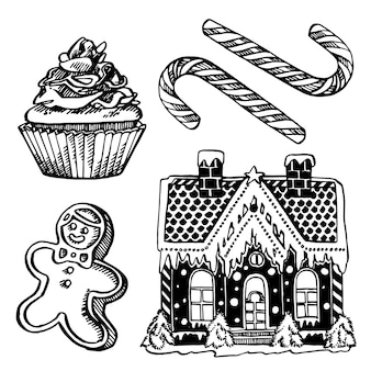 Kerst snoep. hand getekende illustratie. nieuwjaar en kerstmis ontwerpelementen. . vintage illustratie.