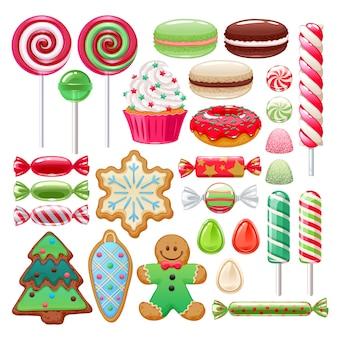 Kerst snoep ingesteld. geassorteerde snoepjes en koekjes.
