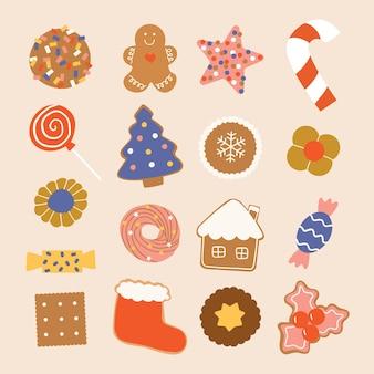 Kerst snoep snoepjes en koekjes collectie hand getekende illustratie in platte cartoon stijl