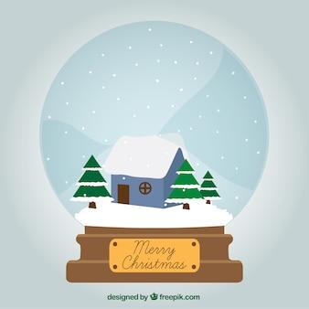Kerst snowglobe met winterlandschap