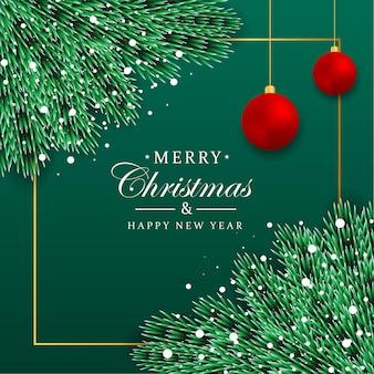 Kerst sociale media posten groen blad en rode bal met groenblauw kleur achtergrond