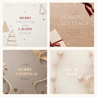 Kerst sociale media sjabloon vector set in gouden toon