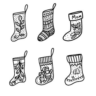 Kerst sokken. vectorillustratie in doodle-stijl