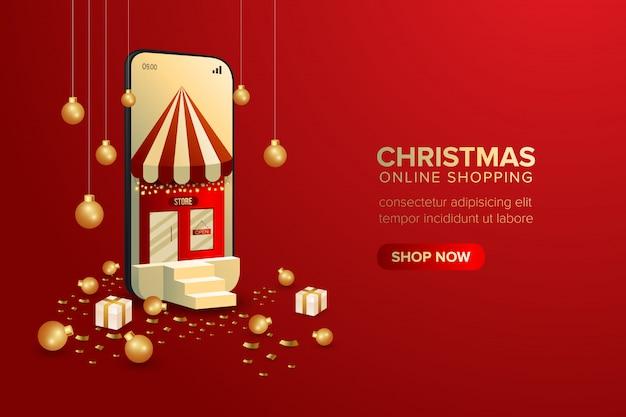 Kerst speciale online winkelen banner op mobiel of web