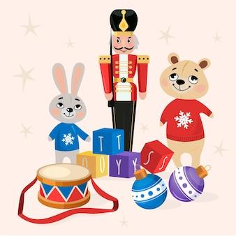Kerst speelgoed achtergrond in plat ontwerp