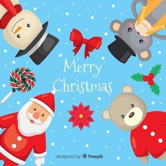Kerst speelgoed achtergrond sjabloon