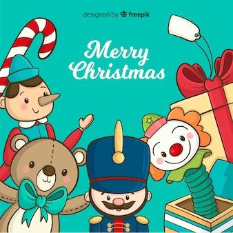 Kerst speelgoed achtergrond