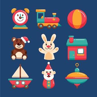 Kerst speelgoed collectie in plat design