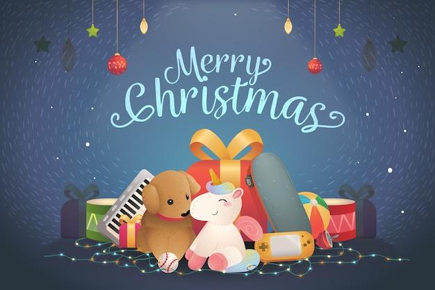 Kerst speelgoed handgetekende achtergrond