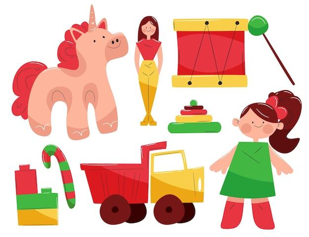 Kerst speelgoedcollectie in plat design