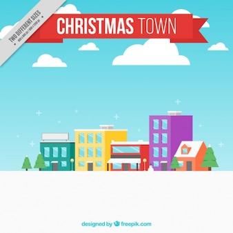 Kerst stad achtergrond in plat design