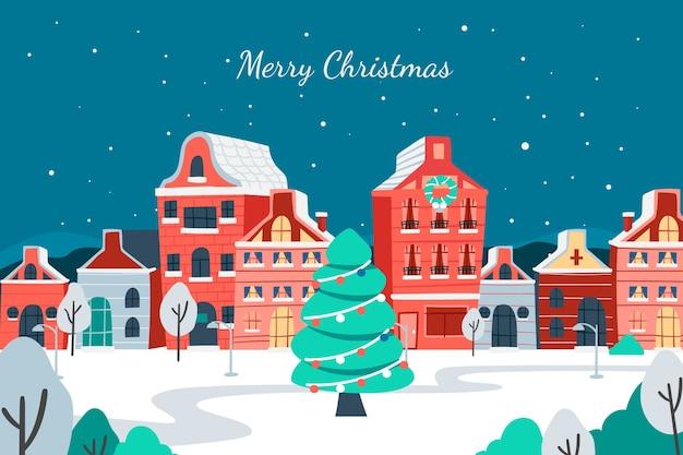 Kerst stad in de hand getekend