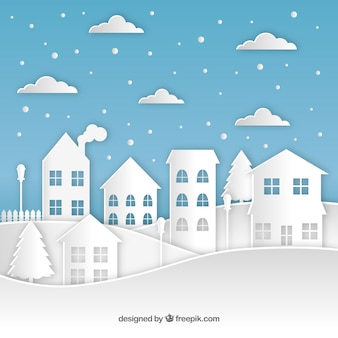 Kerst stad papier achtergrond